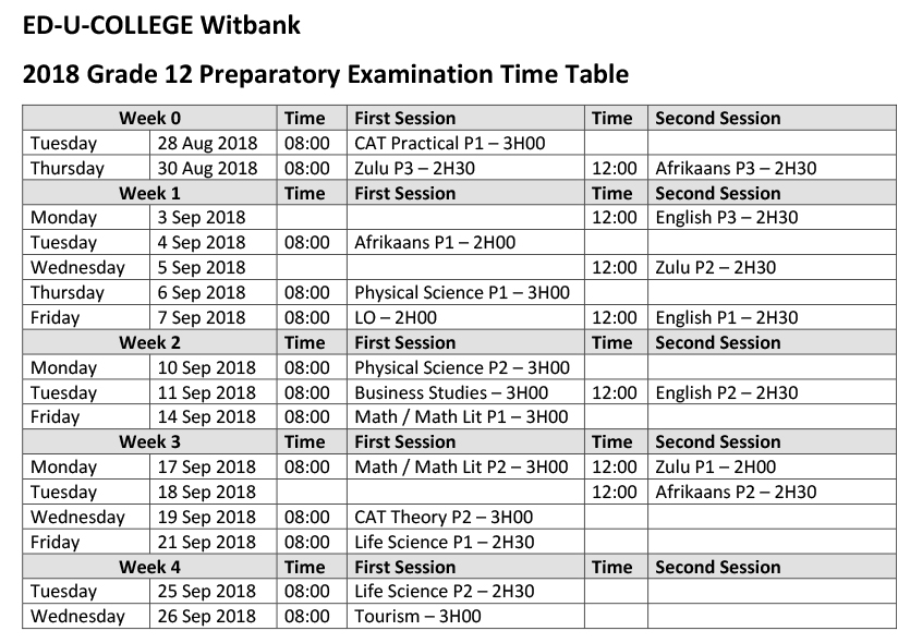 Prelim Exam Time Table